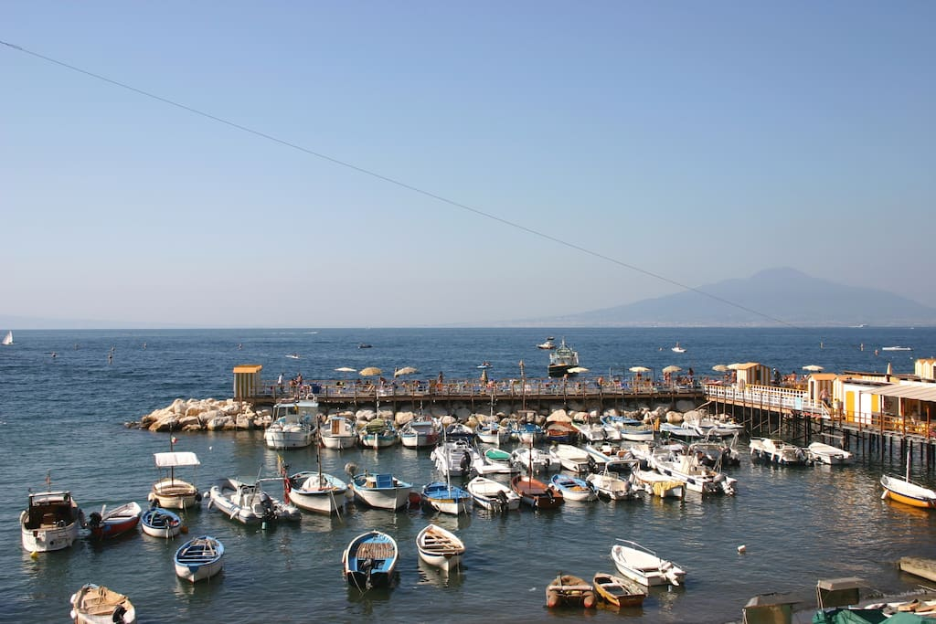 This is the view from the balcony of Diana apartment!! Vesuvius is on the right!