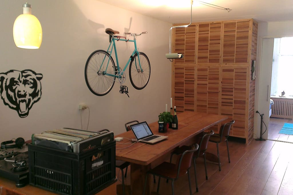 yes, there's a bike on the wall