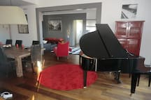 Baby grand in dinning room