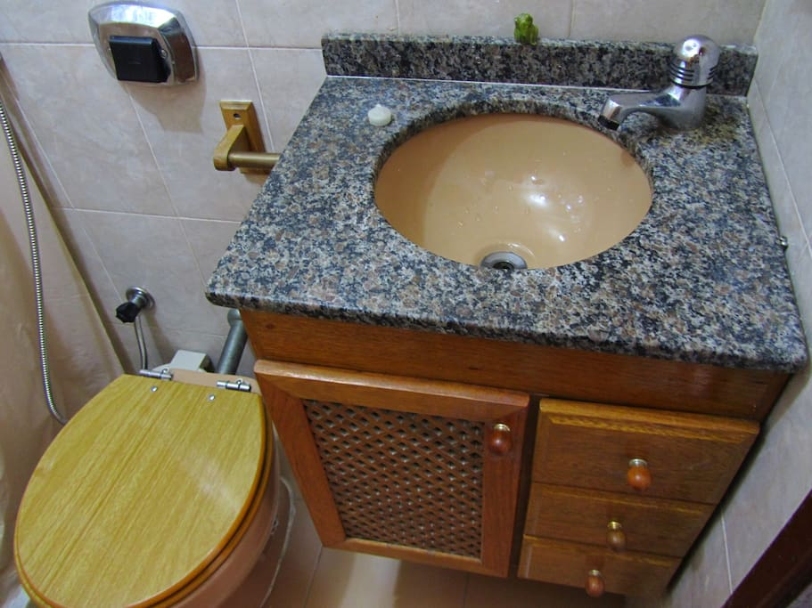 Bathroom with shower and water heater