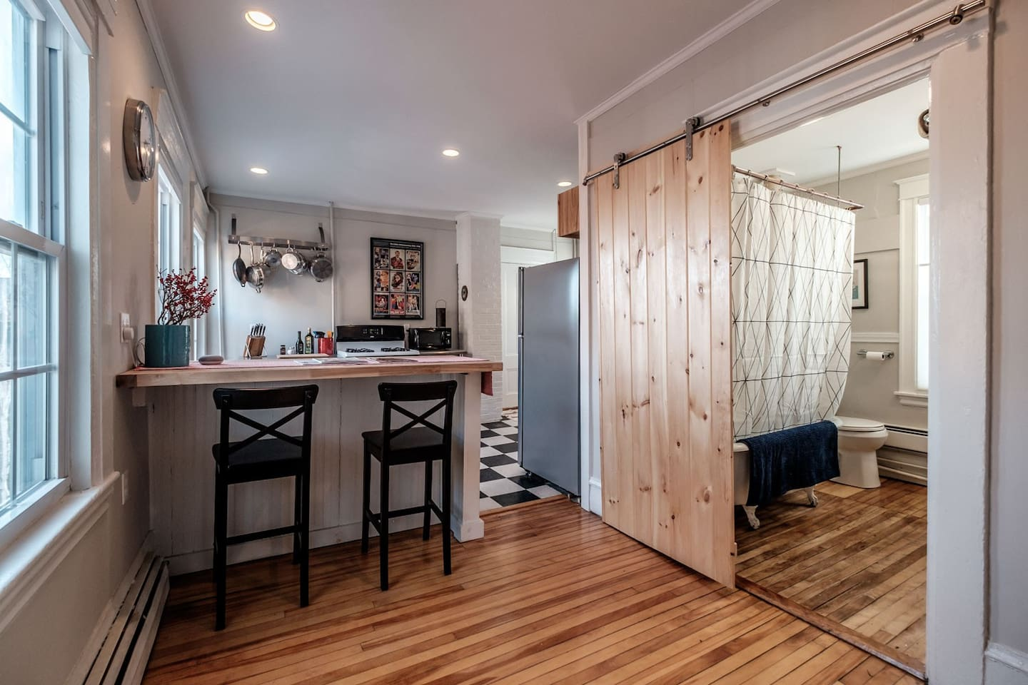 Gather around the butcher block for coffee, drinks or dinner