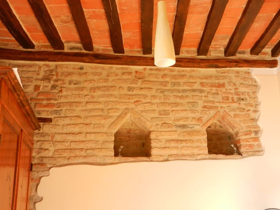 Exposed brick in walls