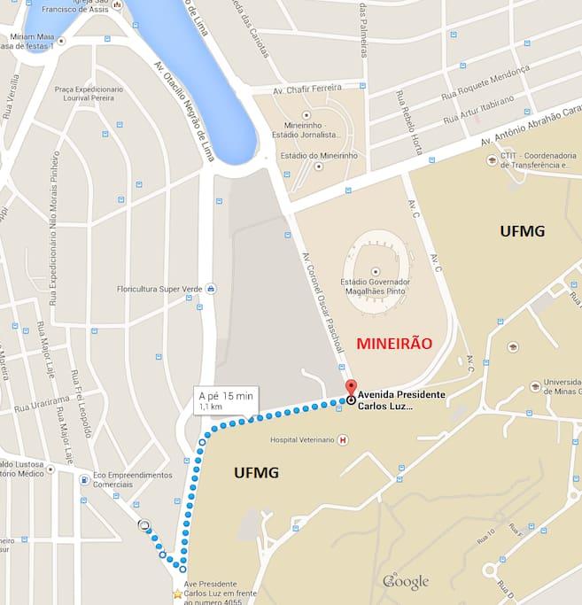 Acesso rápido ao Mineirão e UFMG (1 Km)