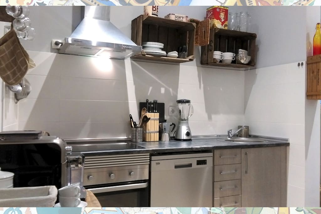 Your fully equipped kitchen at modern standards but with an authentic touch. Not in the picture, but the washing machine is not unimportant.