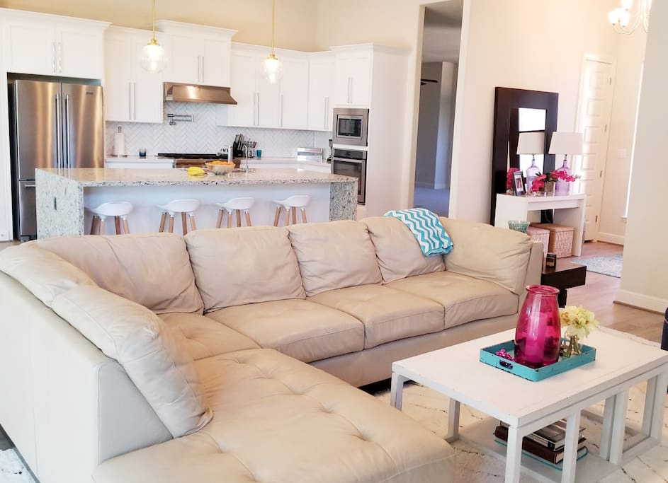 Comfy sectional provides plenty of seating