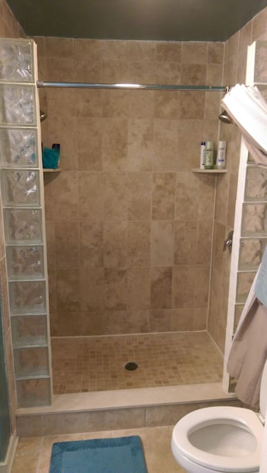 Full bathroom with opposing shower heads inside the master suite