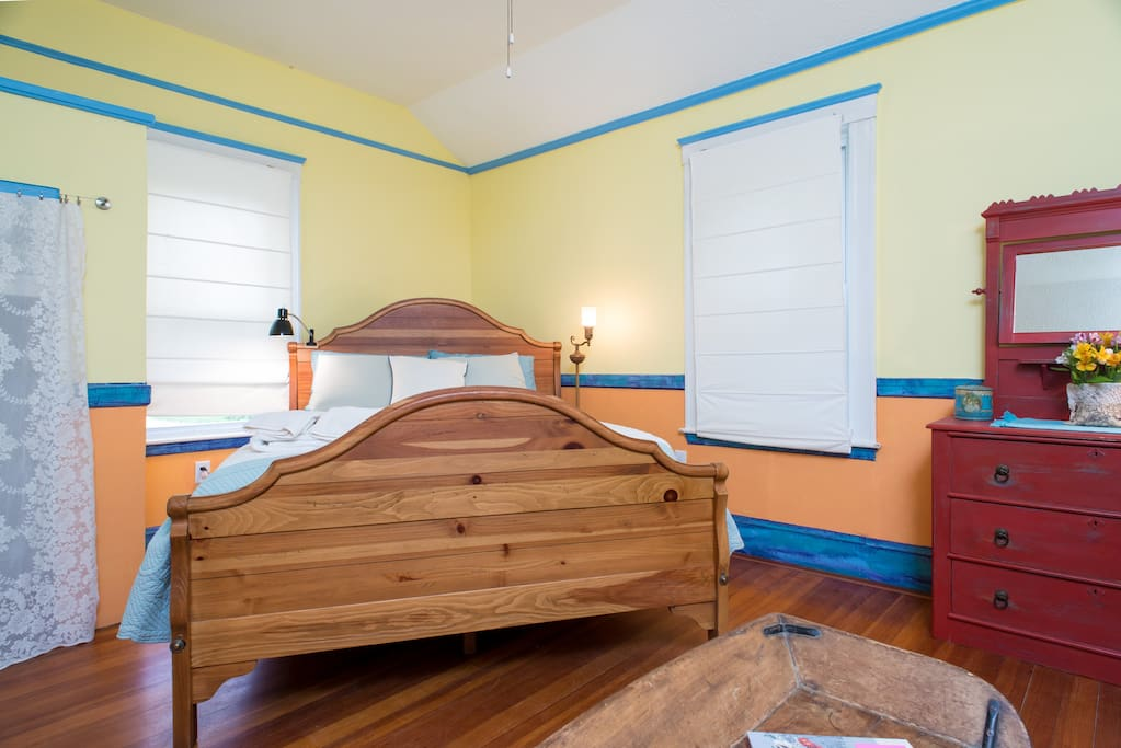 The queen size bed is an Ethan Allen design.