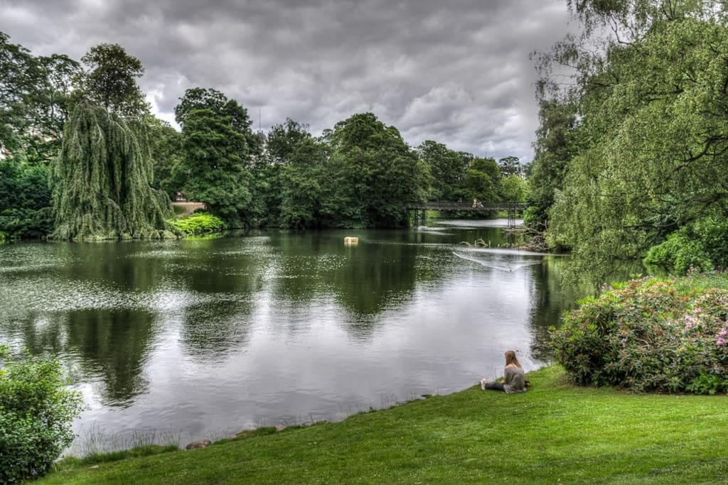 The beautiful Ørstedsparken (Ørsted's Park) 1 minute away from the apartment, the opposite direction from The Lakes.