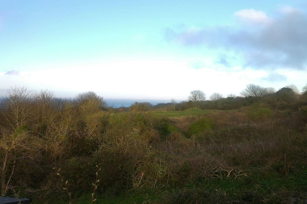 The view from our deck over the nature reserve, Swanage and out towards the Isle of Wight