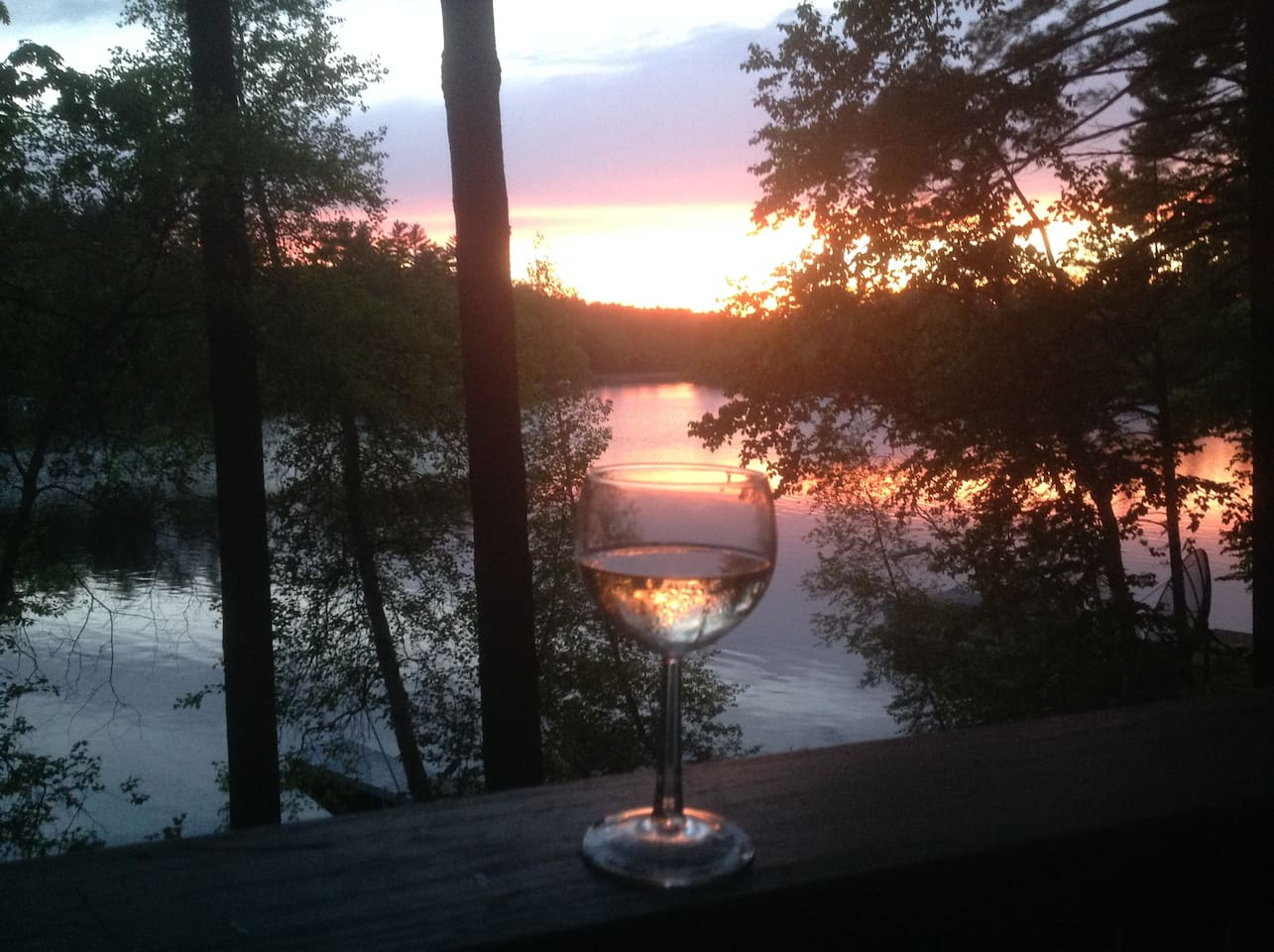 Sunset from front deck.  Wineglass optional. First night?