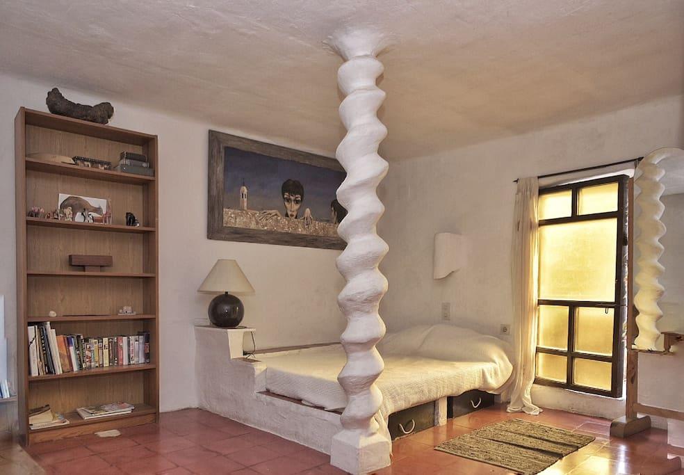 Master bedroom sculpted bed