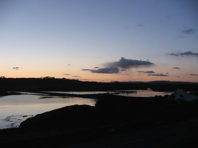 View of the estuary at sunset.