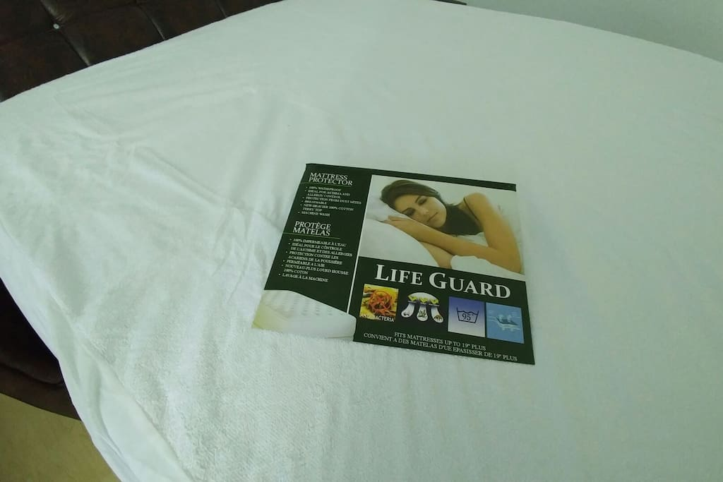 Bed protector for added cleanliness.