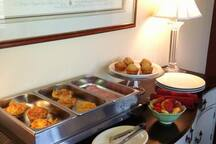 Low Season we serve continental style breakfast. High Season we sever our signature hot-entree breakfast.