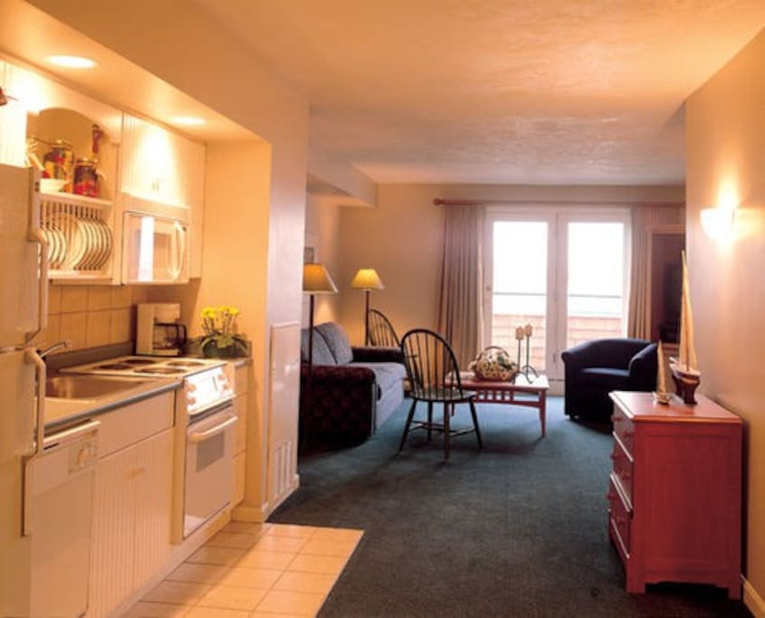 Fully equipped kitchen: fridge, oven/stovetop, microwave, amenities