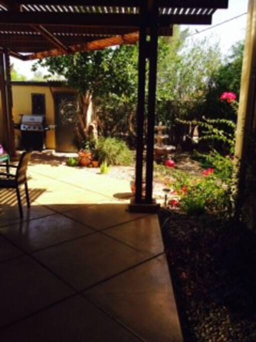 outdoor ramada and lush backyard