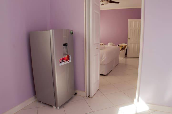 Medium sized fridge.