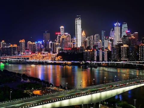 【 Sheena 】 Pure View 180 Degree Rare River View Queen Bedroom + Backdrop Movie + Hongyadong + Jiajia Pier + Liberation Monument + Jiangbei Mouth + Food Bar Street