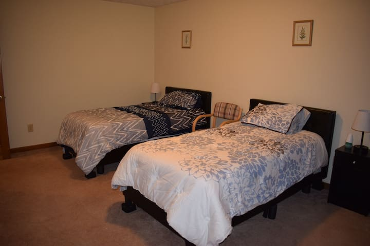 Bedroom 1 with two double beds. Extra sheets provided upon arrival