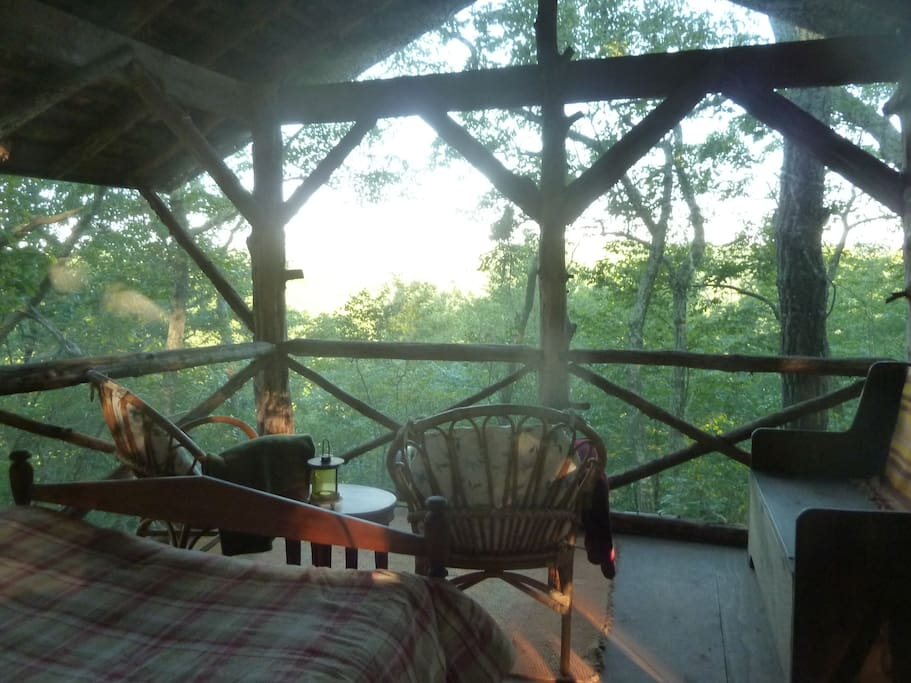 The Summit Cabin's sitting area is perfect for quietly watching wildlife below, curling up with a good book or catching a sunset.