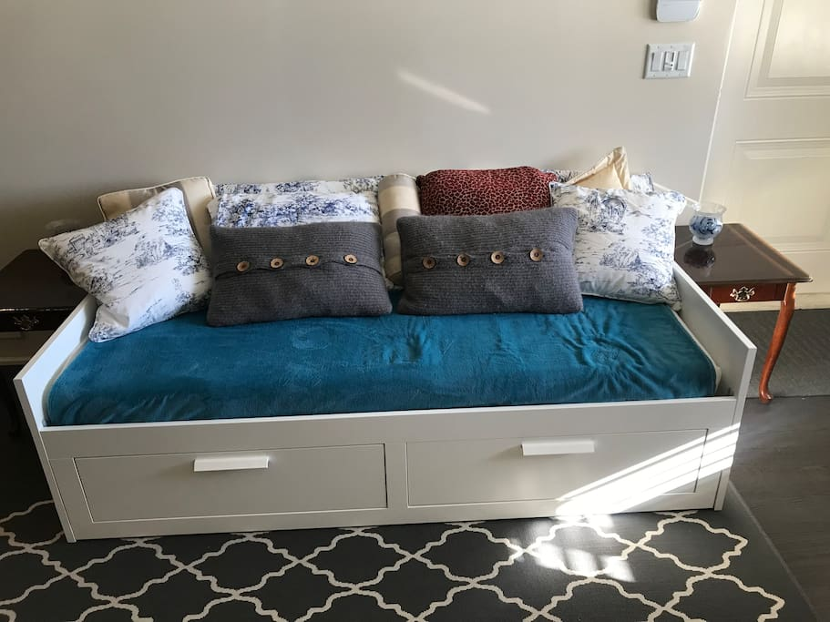 New couch pulls out to a second king size bed in living area.