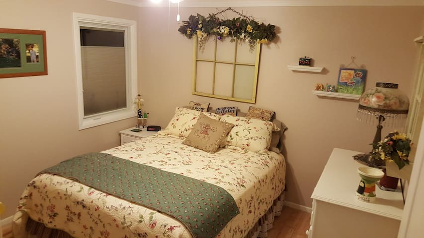 Comfy bedroom with queen bed and private bathroom