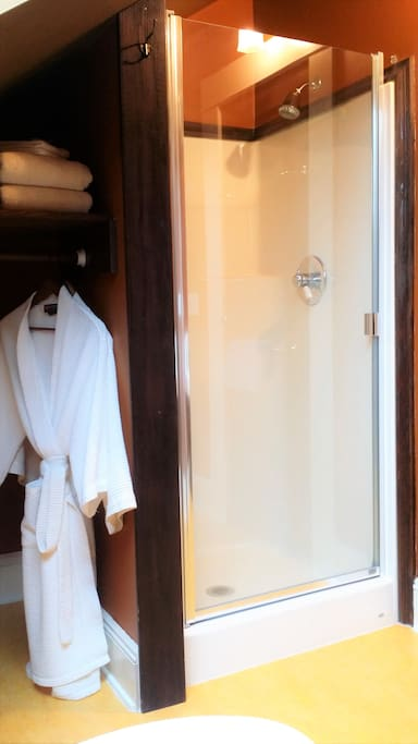 Private shower in bathroom.  Down the hall is a soaking clawfoot tub!