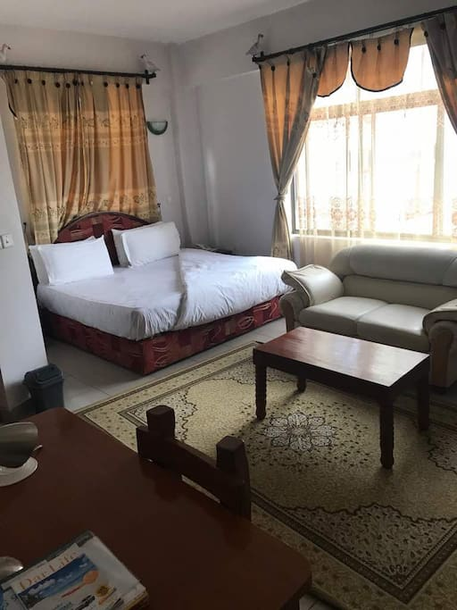 This is our executive room., it contains  Air conditioner, Wi-Fi, clean Toilet, coach, enough space,  wide windows . The price is 50$ per single night