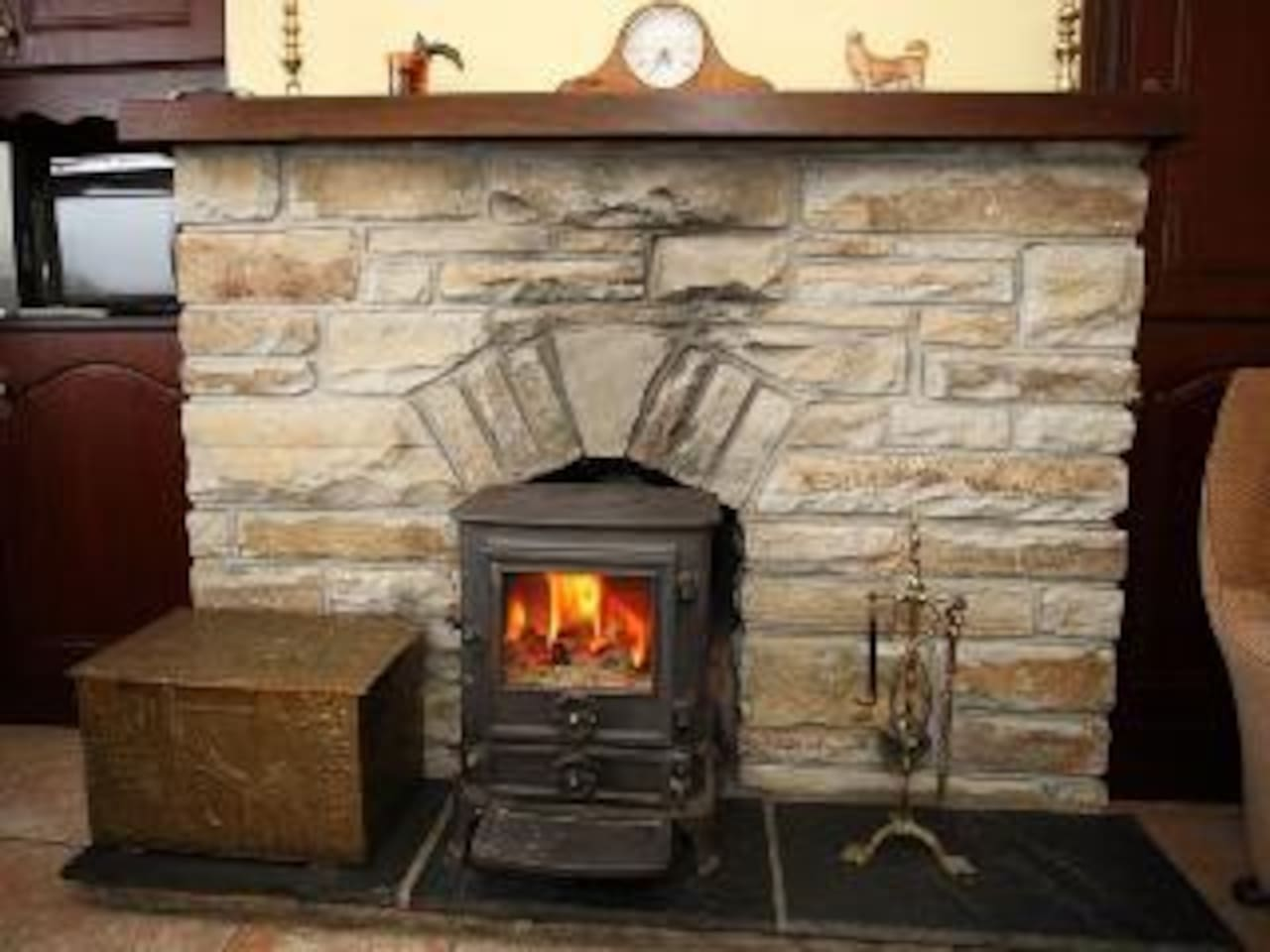 Open fireplace and stove