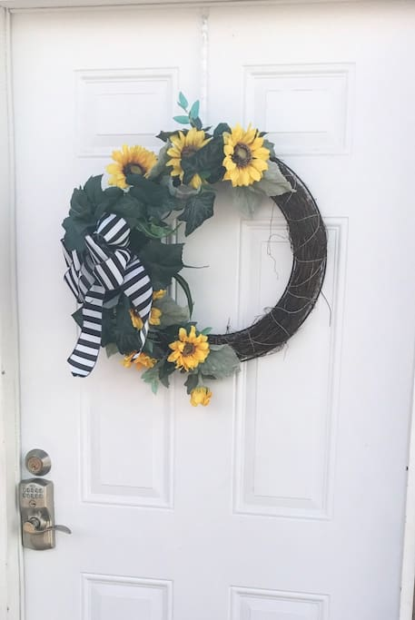 The front door with our welcome wreath