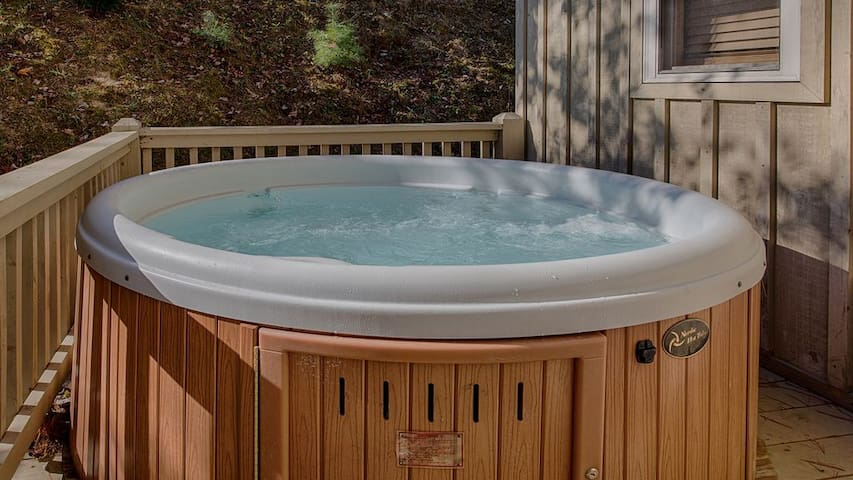 Hot tub located on the side deck.