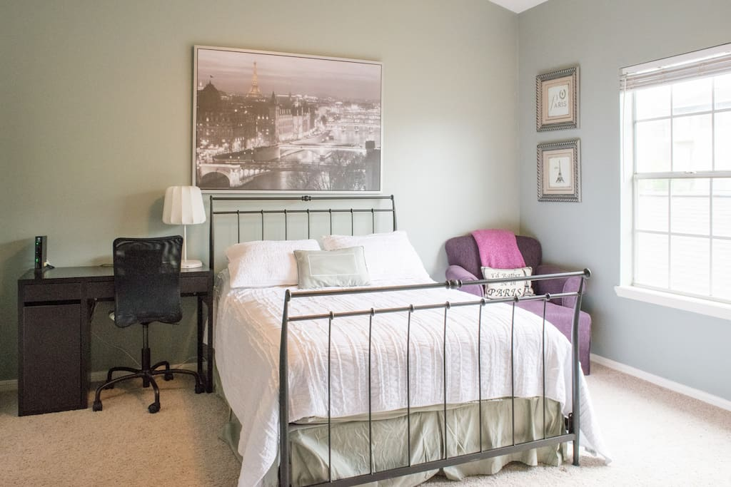Super comfortable full bed with desk area and chair