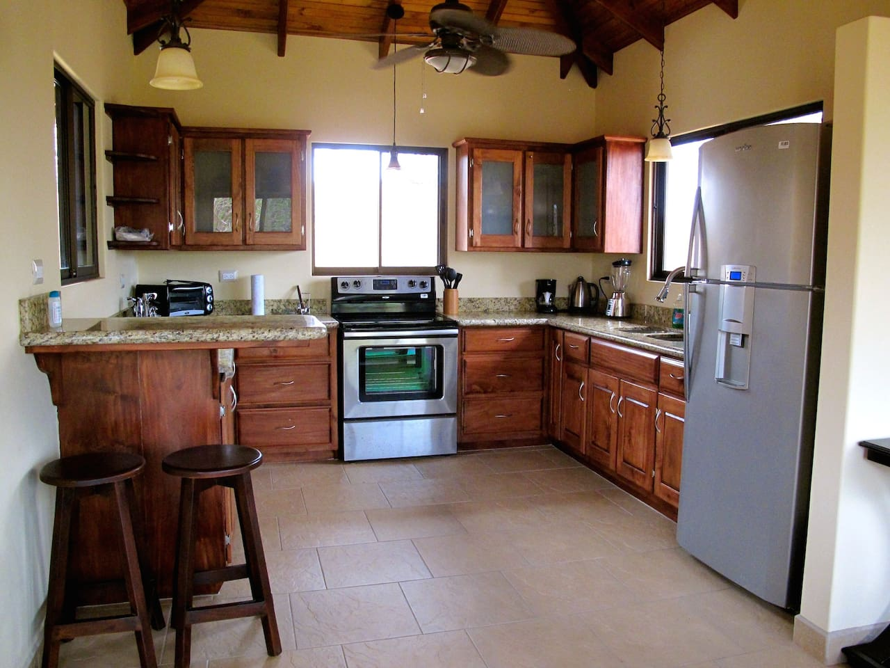 Classic Costa Rican kitchen, fully equipped