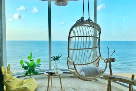 「每日消毒」无遮挡180度一线无敌海景/国际海水浴场五星精装日式电梯公寓 在家看海下楼即海滩 可做饭