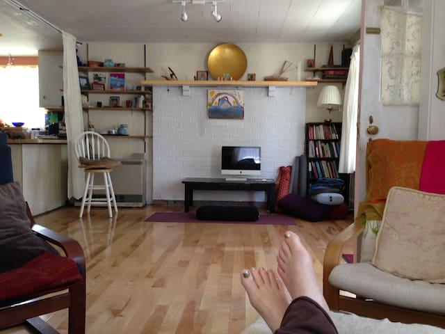 Couch hangout enjoying living room/yoga area...