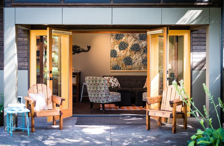 Indoor and outdoor spaces easily accessed through french doors.