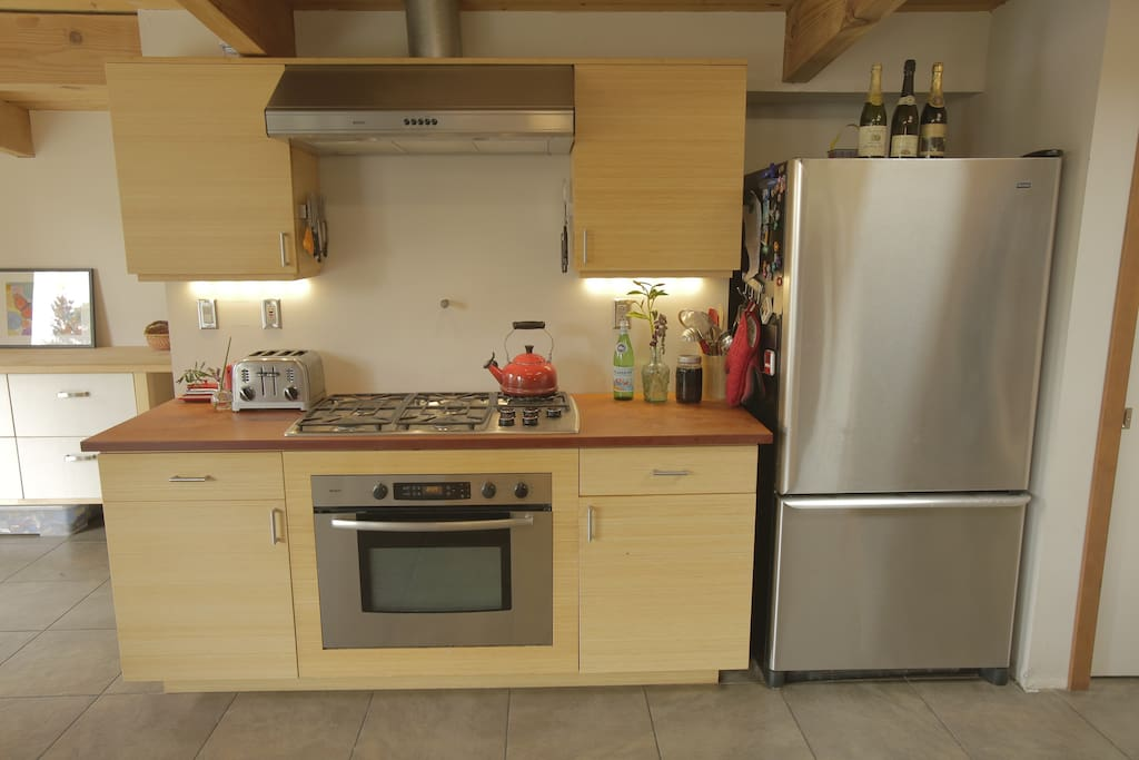 5 burner gas stove, dishwasher, washer/dryer are among some of the amenities.