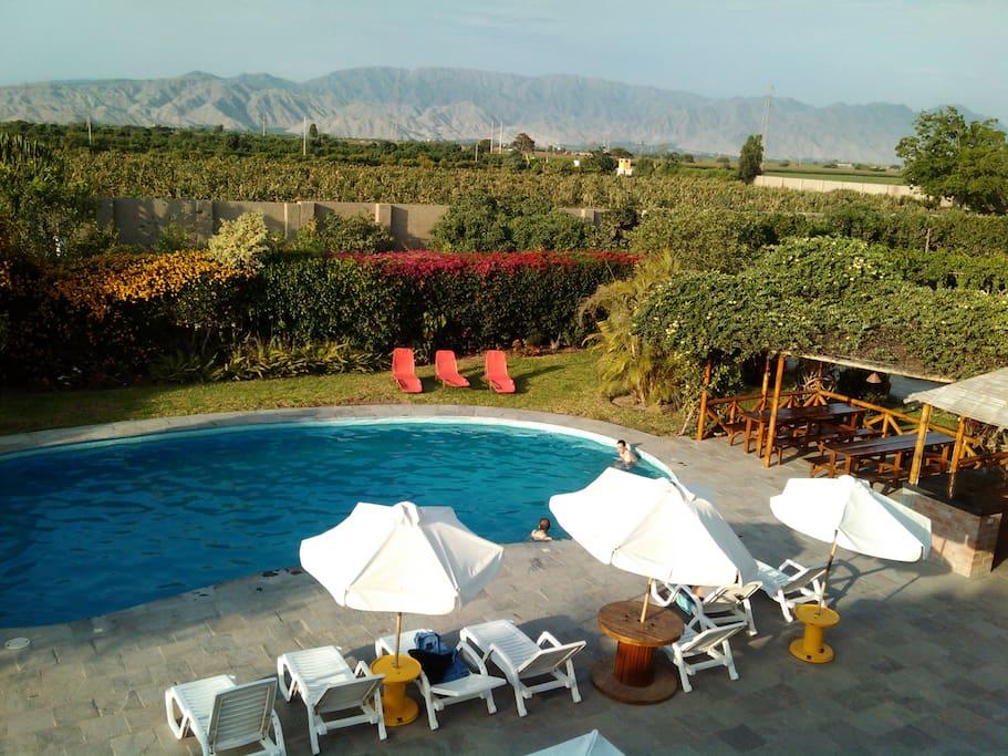 Vista de terraza-piscina desde mirador