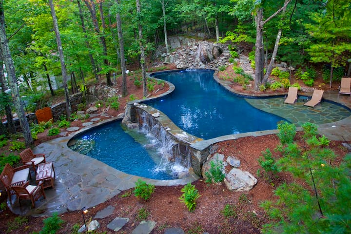 Architect home with waterfall pools