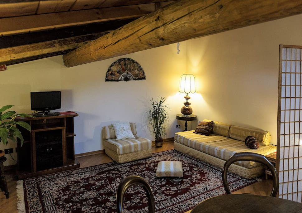 Bright mansard in Florence Large living room with 2 sofa / bed: 1 double and 1 single, dining table. Free WiFi, TV.