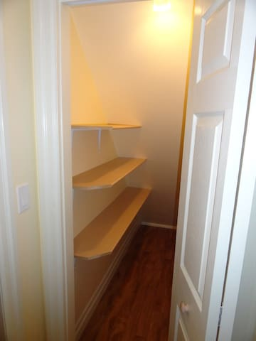 Extra closet for vacuum and cleaning supplies