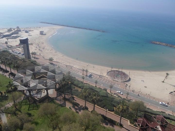 first line, balcony, beach