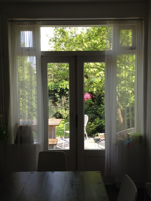 open doors from kitchen to garden