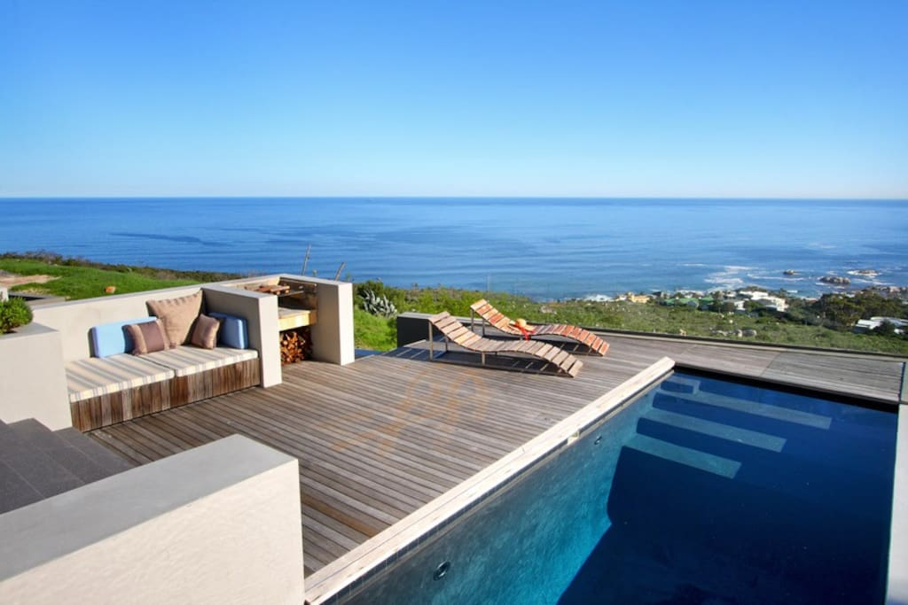 The extra-deep 8m private pool has sweeping ocean and mountain views