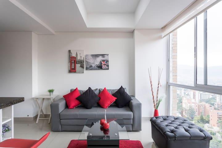 ✧Beautiful Studio With City View Poblado/Tesoro