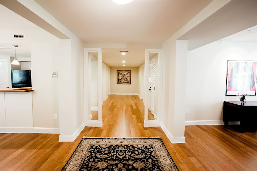 Hardwood floors throughout the Biltmore Village Flat