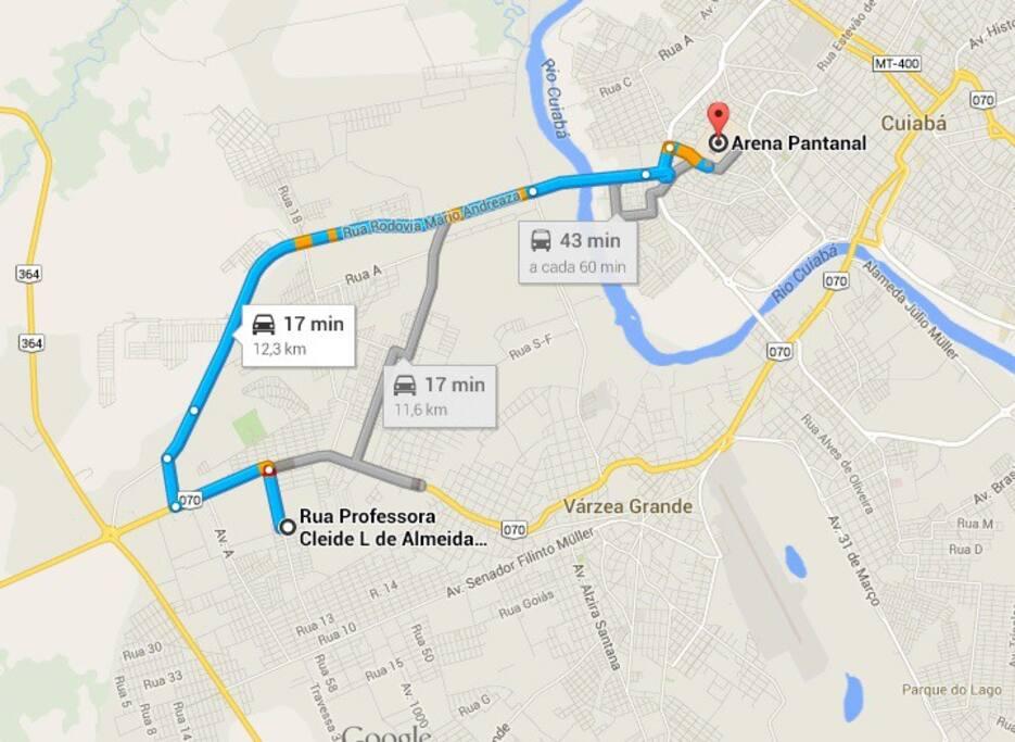 17 minutos até a Arena Pantanal (local do jogo)