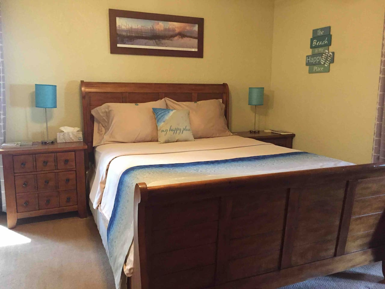 Get a great night sleep in our peaceful, quiet home on a very comfortable queen sleigh bed!