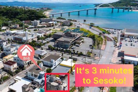 人気の水族館エリア☆Sesoko Island&Front Ocean view with BBQ!