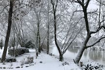 Magnifique vue enneigée depuis la maison .